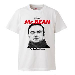 【I'M NOT Mr.BEAN i'm Carlos Ghosn-カルロス・ゴーン】5.3オンス Tシャツ/WH/JN- 002