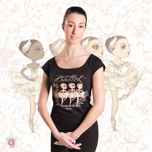 Ballet Papier Low Neckline Style T-shirt 'Little Swans'