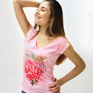 [Ballet Papier] V-NECK T-SHIRT   'STRAWBERRY BALLET'