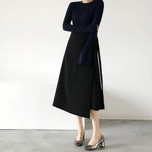 全2色 ミディアム丈ラップスカート
