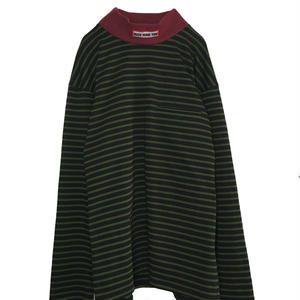 BASQUE BORDER MOCK NECK L/S KNIT  (GREEN)