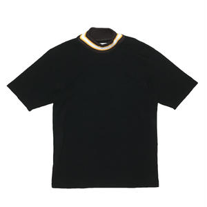 MOCK NECK LINE RIB OVER SLEEVE TEE  (BLACK)