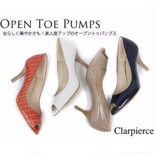 クラーピアス 【Clar pierce】 オープントゥパンプス オレンジレッド 24.5cm
