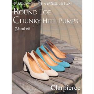 clarpierce -クラーピアス-  スエードラウンドトゥヒールパンプス  7.5cmヒール 送料無料