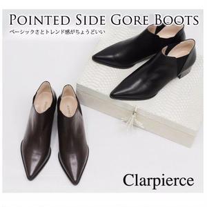 SALE 50%OFF  clarpierce  クラーピアス   ポインテッドトゥ サイド ゴア ブーツ