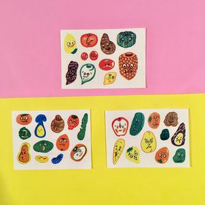 野菜シール ステッカー 3枚セット ベジタブル vegetable sticker  ③