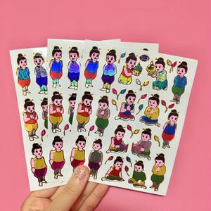 タイの子供達 キラキラ シール3枚セット sticker Thai children