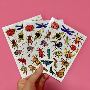 虫 ムシ キラキラ シール 3枚セット sticker bug insect