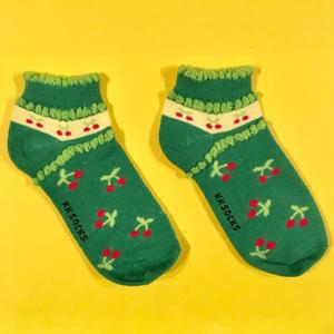 チェリー 緑 靴下 ソックス CHERRY GREEN SOCKS
