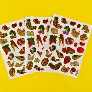 フルーツ キラキラ シール 3枚セット ②  fruit stickers
