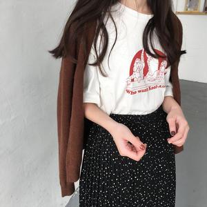 可愛いイラスト Tシャツ 白