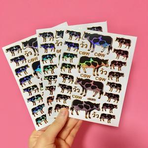 牛 キラキラ シール 3枚セット ② COW STICKER