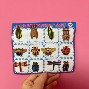 虫 ムシ ブローチ 12個セット バッチ 可愛い レトロ badge