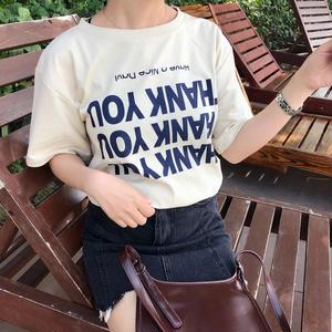THANK YOU 逆さま Tシャツ ベージュ