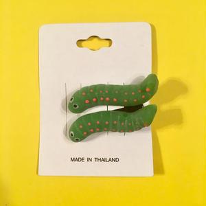 芋虫 ヘアクリップ アクセサリー 2個セット Caterpillar Hair clip