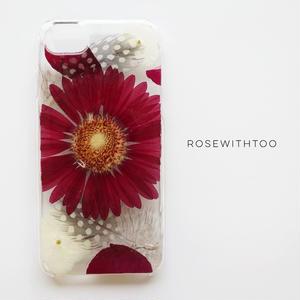 【再販】押し花iPhoneケース 0922_3 red gerbera