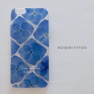 押し花iPhoneケース 0611_3 hydrangea blue