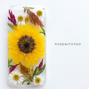 押し花iPhoneケース0716_5  sunflower2