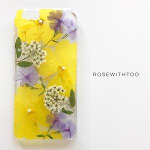 押し花iPhoneケース 0618_2 yellow