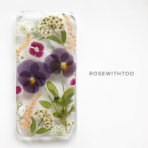 押し花iPhoneケース0730_3 viola purple
