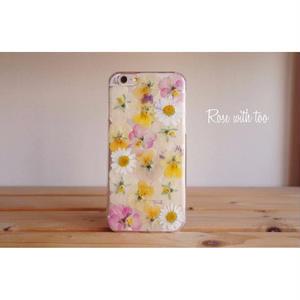 iPhone6/6s用 フラワーアートケース 押し花デザイン 0724_2