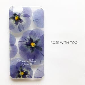 押し花iPhoneケース 0514_2 blue pansy