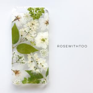 【再販アレンジ】押し花iPhoneケース 0618_4 white&green