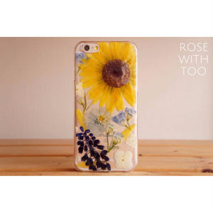 iPhone6/6s用 フラワーアートケース 押し花デザイン 0821_1