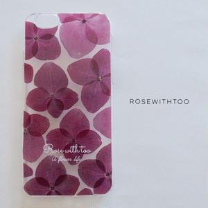 押し花iPhoneケース 0611_1 hydrangea purple