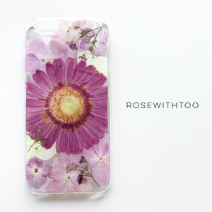 【再販アレンジ】押し花iPhoneケース 0611_6 Gerbera pink
