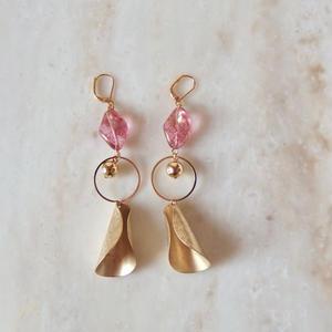 Pink Brass Pierce (イヤリング/チタンピアス変更可)
