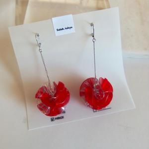 PVC Flower Pierce -Red- (イヤリング/チタンピアス変更可)