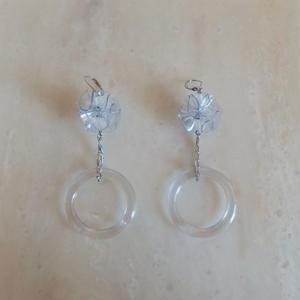 PVC Flower Ring Pierce -Clear- (イヤリング/チタンピアス変更可)