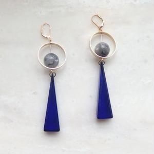 Triangle Swing Pierce -Blue*Marble-  (イヤリング/チタンピアス変更可能)