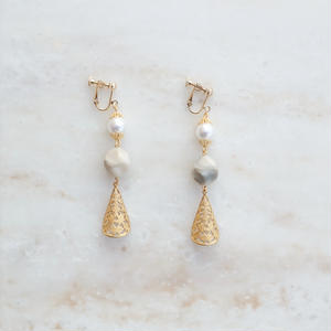 Pearl Marble  Earring (ピアス/チタンピアス変更可)