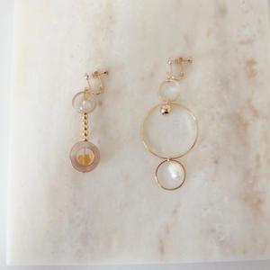 Asymmetry Pearl Earring  (ピアス/チタンピアス変更可)