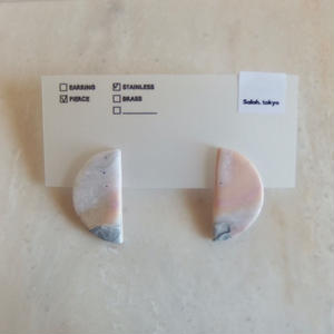 Half Moon Pierce -Pink Marble-