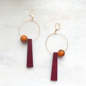 Wood Swing Pierce -Red*Orange-  (イヤリング/チタンピアス変更可能)