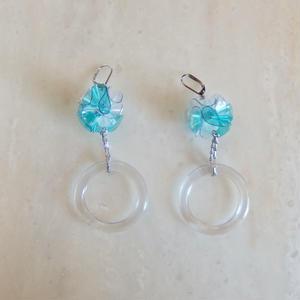 PVC Flower Ring Pierce -Blue- (イヤリング/チタンピアス変更可)