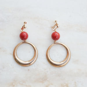 Brass Ring  Earring -Red- (ピアス/チタンピアス変更可)