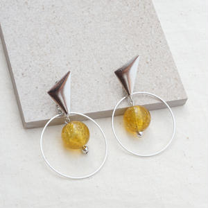 Silver Triangle Earring -Yellow-