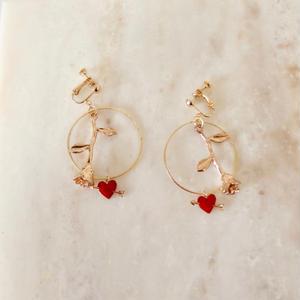 Rose & Heart Earring  (ピアス/チタンピアス変更可)