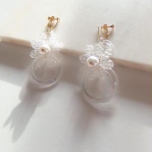 Clear Flower Earring (ピアス/チタンピアス変更可能)