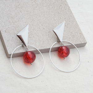 Silver Triangle Earring -Red-