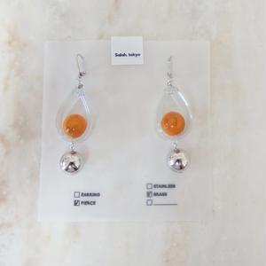 PVC Drop Pierce -Orange- (イヤリング/チタンピアス変更可)