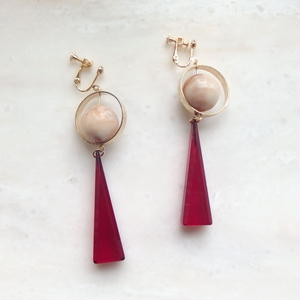 Triangle Swing Earring -Pink*Ivory-  (ピアス/チタンピアス変更可能)