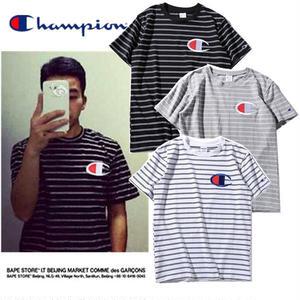 ★Champion チャンピオン 人気Tシャツ 半袖 スウェット 男女兼可ボーダーTシャツ