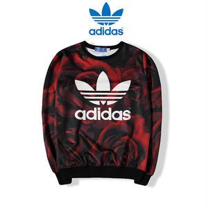アディダス/adidas 人気トレーナー 赤いバラ柄 長袖パーカー 男女兼用スウェット