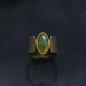 モスグリーンのオパールの指環 silver925/K22YG