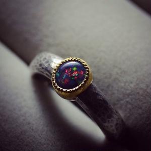 ブラックオパールの指環  silver925/K22YG